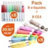 Pack 8 e-liquides toutes saveurs + 8 clearomizers CE4