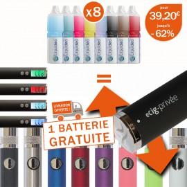 pour 8 e-liquides achetés profitez de 1 batterie gratuite