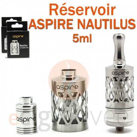 Réservoir en acier inox Pyrex pour clearomizer ASPIRE NAUTILUS 5ml