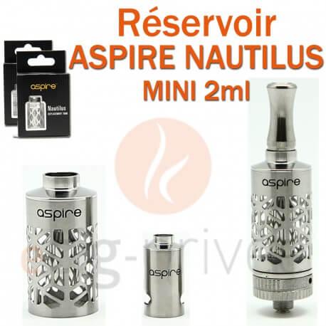 Réservoir en acier inox Pyrex pour clearomizer ASPIRE NAUTILUS MINI 2ml