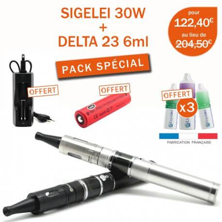 PACK SIGELEI 30W + JOYETECH DELTA 23 + 4 E-LIQUIDES GRATUITS