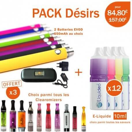 Pack e-cig EGO-VW 900mAh + 3 clearomizers gratuits au choix + 3 mois d'e-liquide toutes saveurs