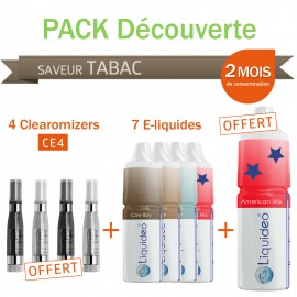 Pack découverte 2 mois saveur Tabac + 4 clearomizers