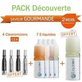 Pack découverte 2 mois saveur Gourmande + 4 clearomizers gratuits