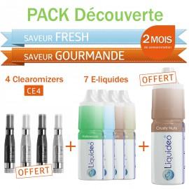 Pack découverte 2 mois saveur Fresh et Gourmande + 4 clearomizers gratuits