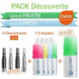 Pack découverte 2 mois saveurs Fruitée et Fresh + 4 clearomizers gratuits