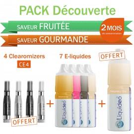 Pack découverte 2 mois saveurs Fruitées et Gourmandes + 4 clearomizers gratuits