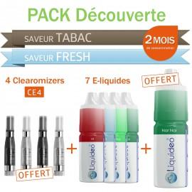 Pack découverte 2 mois saveurs Tabac et Fresh + 4 clearomizers gratuits