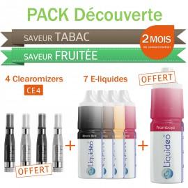 Pack découverte 2 mois saveurs Tabac et Fruitées + 4 clearomizers gratuits