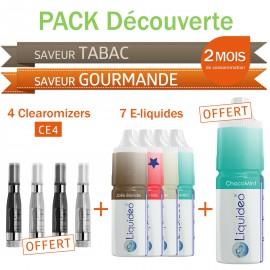 Pack découverte 2 mois saveurs Tabac et Gourmandes + 4 clearomizers gratuits