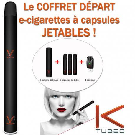 COFFRET DEPART KTUBEO DE LIQUIDEO-E-CIGARETTES JETABLES-COULEUR BLANCHE