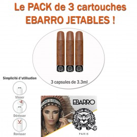 "SAVEUR ""BROWN SUGAR"" PACK DE 3 RECHARGES JETABLES CIGARE POUR E-CIGARETTE AUTOMATIQUE EBARRO"