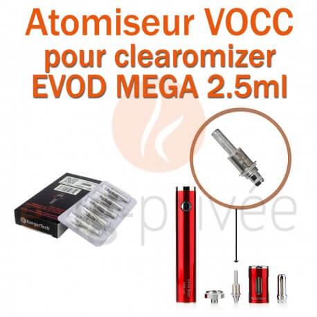 Pack de 5 résistances VOCC pour clearomizer EVOD MEGA 2.5ml