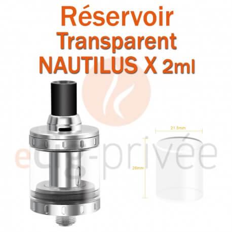 Réservoir en Pyrex pour clearomizer ASPIRE NAUTILUS X 2ml