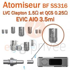 Pack de 5 résistances LVC CLAPTON ET QCS pour clearomizer CUBIS PRO 4ml