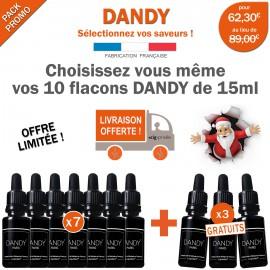 Pack EXCEPTIONNEL sur mesure de 10 e-liquides DANDY dont 3 GRATUITS !
