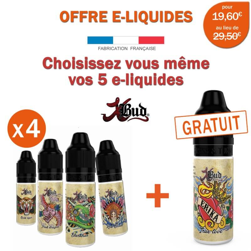 offre promo xbud 4 e liquides achet s gale 1 e liquide gratuit s. Black Bedroom Furniture Sets. Home Design Ideas