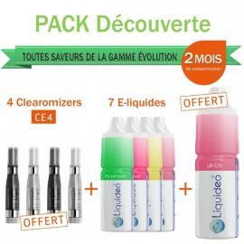 Pack découverte 2 mois toutes saveurs pour e-cig + 4 clearomizers gratuits