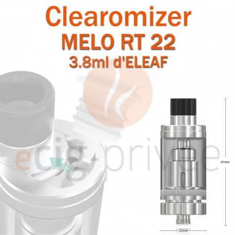 Clearomizer MELO RT 22 d'ELEAF de capacité 3.8ml pour e-cigarette