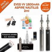 PACK PROMO-EVOD VV 1600mah et NAUTILUS 2ml