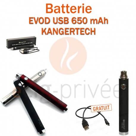 Batterie EVOD USB 650mAh de chez Kangertech pour e-cigarette