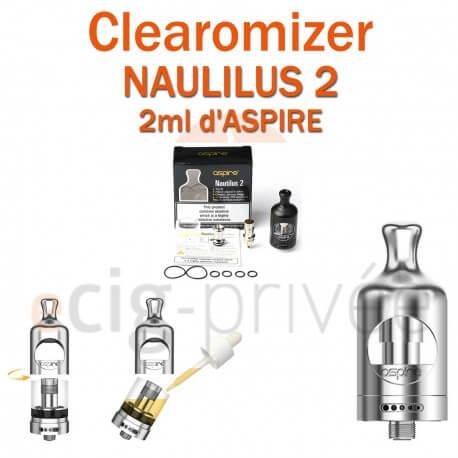 Clearomizer NAUTILUS 2 d'ASPIRE de capacité 2ml pour e-cigarette