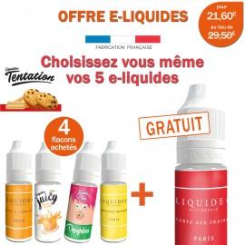 OFFRE PROMO TENTATION-4 e-liquides achetés égale 1 e-liquide gratuit