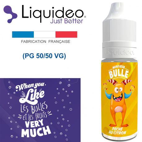 """""""PÊCHE CITRON"""" E-liquide saveur Monsieur BULLE de Liquideo-10ml pour e-cigarette"""
