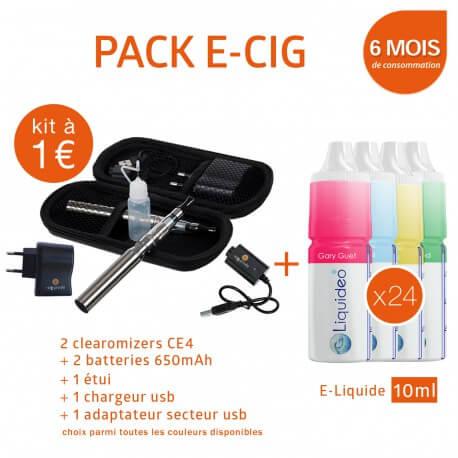 Pack Kit double 650mAh e-cigarette EGO-CE4 à 1€ + 6 mois d'e-liquide