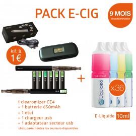Pack PROMO e-cigarette EGO VW 650mAh à 1€ + 9 mois d'e-liquide