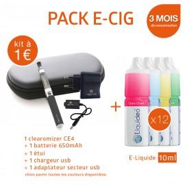 Pack 1 e-cigarette 650mAh EGO-CE4 à 1€ + 3 mois d'e-liquide