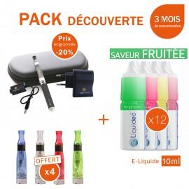 Pack découverte 1 e-cig EGO-CE4 650mAh + 4 clearomizers CE4 gratuits + 3 mois d'e-liquide FRUITÉ