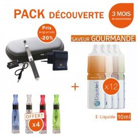 Pack découverte 1 e-cig EGO-CE4 650mAh + 4 clearomizers CE4 gratuits + 3 mois d'e-liquide GOURMAND