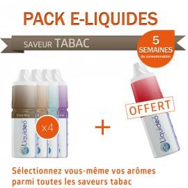 Pack PROMO 5 semaines saveur Tabac dont 1 gratuit