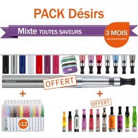Pack désirs 12 flacons + 1 e-cig OFFERTE + 1 clearomizer et 1 étui GRATUITS !