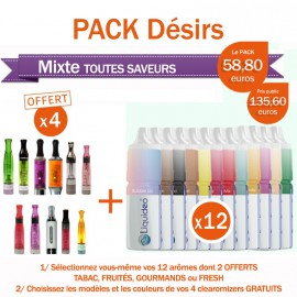 Pack PROMO 12 e-liquides toutes saveurs + 4 clearomizers OFFERTS