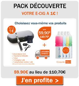 Pack découverte avec votre e-cig à 1€ !